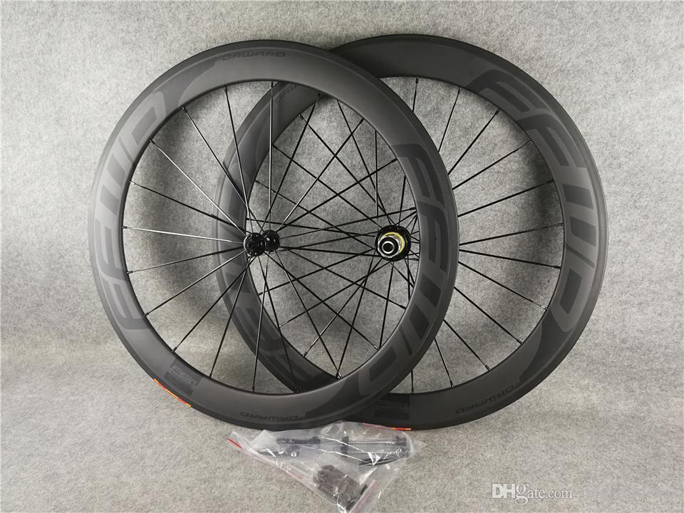 FFWD BOB 60MM Wheelset 700C الكربون الطريق الدراجة الدراجة عجلات UD ماتي + ايرو المتحدث 20-24h لامعة / ماتي