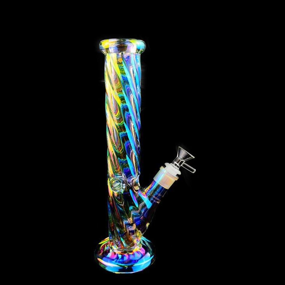 glow in the dark bong smoking pipes downstem perc glass bubbler thick glass water bongs chicha ice hookahs with 14mm bowl