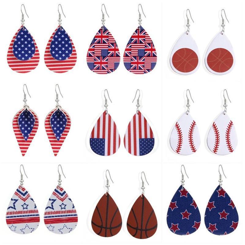 Fashion Design Baseball Sports PU Leather Earrings UK United States Flag Teardrop Printing Dangle Earrings for Women Creative Jewelry M404F
