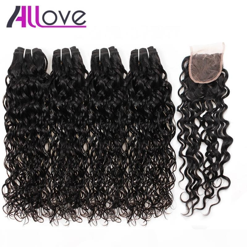 Best 10A Brazilian Hair Human hair Bundles With Closure Water Wave 4Bundles With Closure Wet and Wavy Human Hair Extensions Wholesale