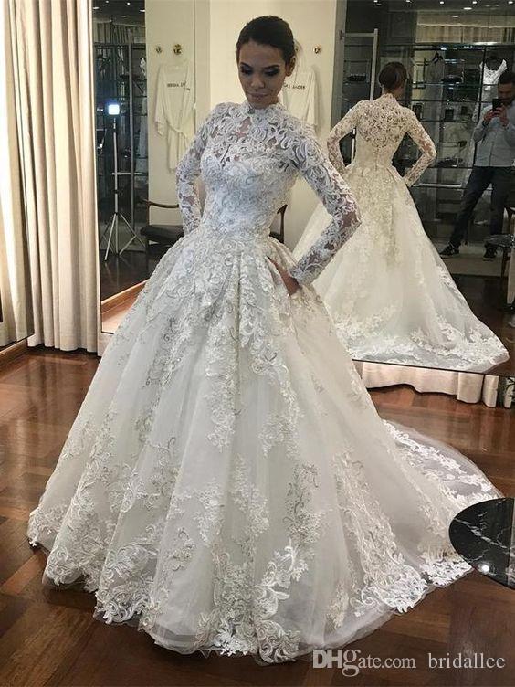 Fabuleux Nouvelle robe de mariage robe de bal 2019 col haut manches longues chapelle train dentelle robe de mariée robe Robe de noiva longo
