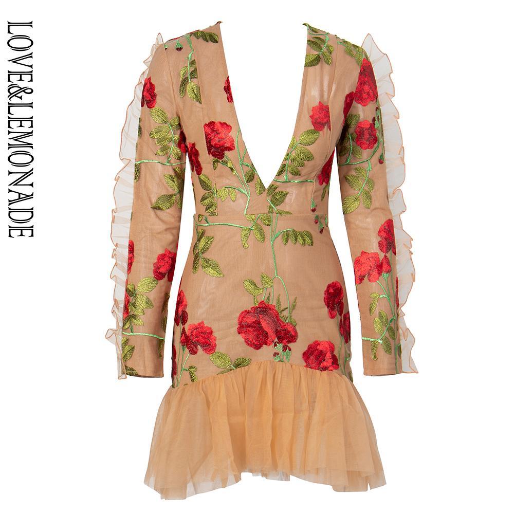 LoveLemonade глубокий V-образным вырезом рябить отделкой сетки сетки вышивка материал с длинным рукавом выход платье LM81682-1