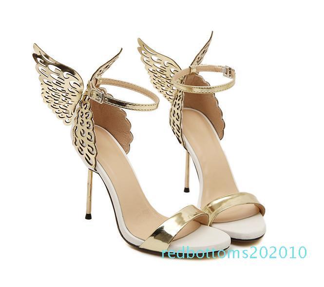 2017 Yaz Sophia Vampire Diaries fantezi kelebek kanat yüksek topuk sandalet altın gümüş düğün ayakkabıları büyüklüğü 35 40 10r için