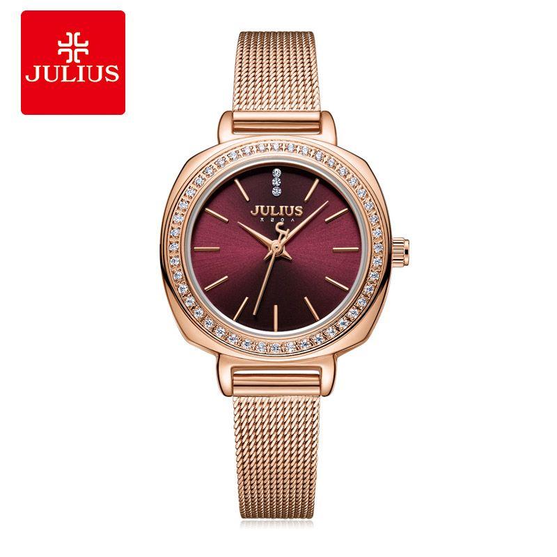 Vino tinto Julio JA-1213 del reloj de las mujeres de la vendimia marcar completa superior del diamante del reloj del cuarzo del reloj de la joyería
