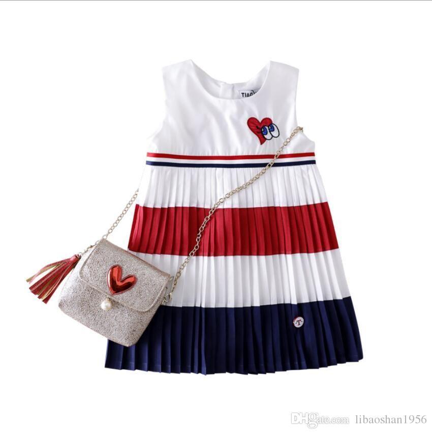 2019 verano nuevas niñas algodón vestido a juego de color / vestido amor bordado falda princesa jardín falda linda