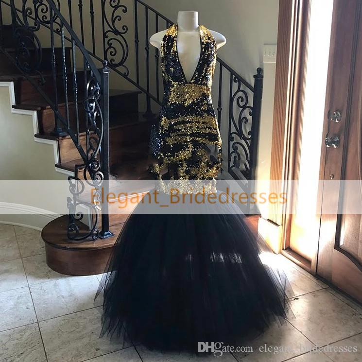 2019 Stunning Velvet Colorful Sequins Black Mermaid Prom Dresses Floor-length Tulle Formal Evening Gowns Sexy V Neck Party Graduation Dress