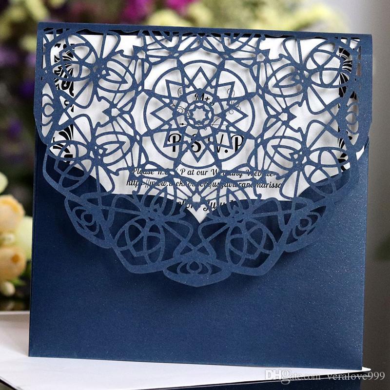 2018 Navy Blue Wedding Invitations Tarjetas con hueco Out Rustic Black Laser Cut Card Tarjeta de invitación Flores Elegante fiesta invita