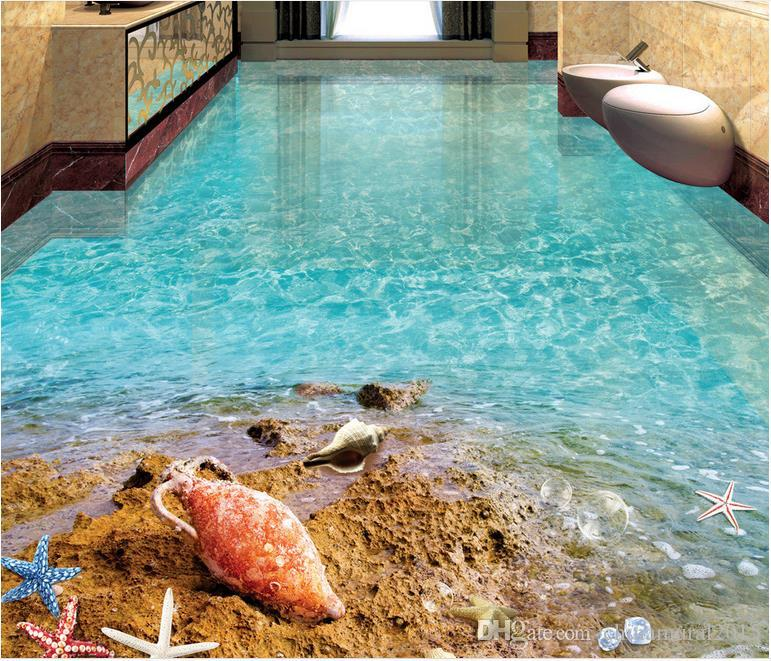 Cascada Carpa 3D Mural del piso Papel pintado Playa Estrella de mar Concha Playa Océano Baño Piso 3D Grueso Autoadhesivo Azulejos 3D Wallpapers de PVC