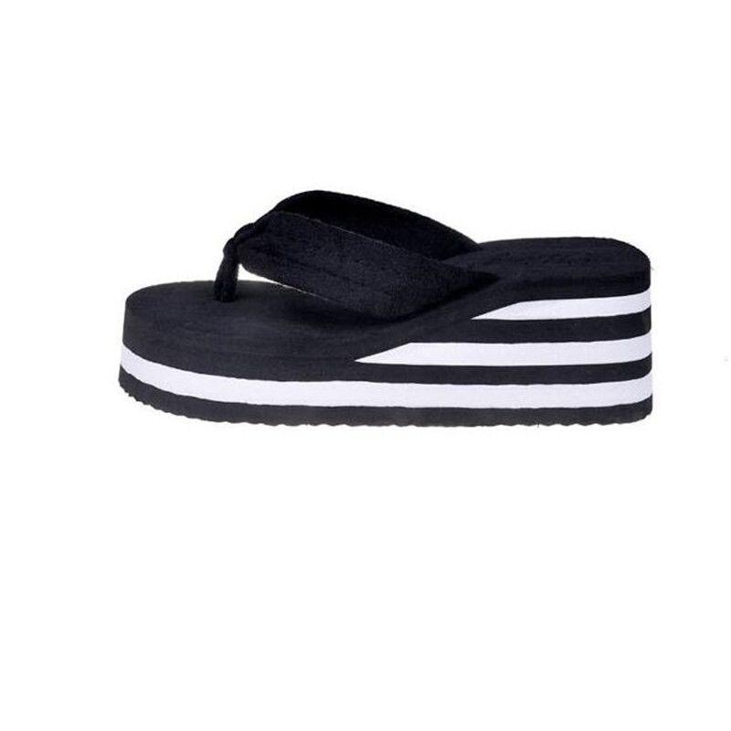 Ladies Women Beach High Heel Wedge Platform Flip Flops Sandal Slipper Shoes