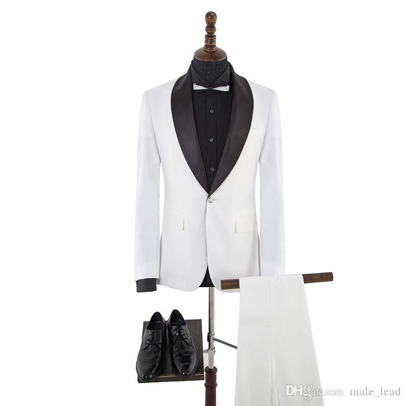 Cool One Кнопка Groomsmen Notch Отворотный жених Смокинги Мужская Свадебное платье Человек Куртка Блейзер Пром Ужин 2 Шт. Костюм (Куртка + брюки + галстук) A127
