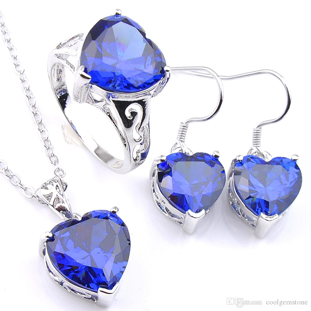 Luckyshine Mix 3Pcs/Lot Antique Crystal Fire Heart Blue Topaz Zirconia Gems 925 Sterling Silver Wedding Pendants Earring Ring Jewelr Set