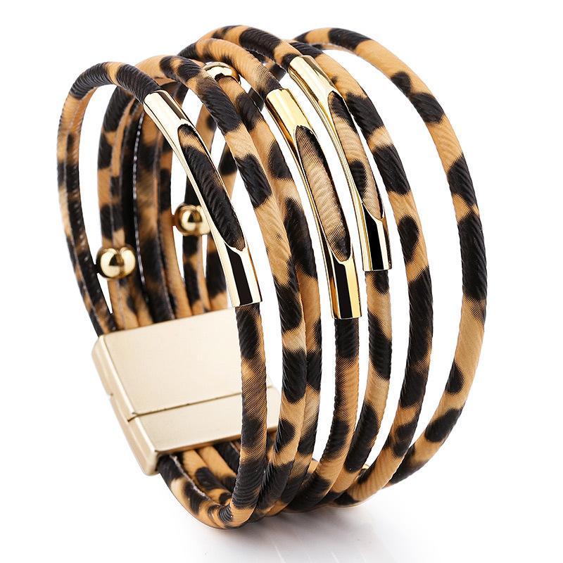 Leopard-Leder-Armband für Frauen Art und Weise magnetischen Haken-Charme-Armband-Armbänder Elegante Mehrschichtige Verpackungs-Armband Schmuck Geschenk DBC VT0981