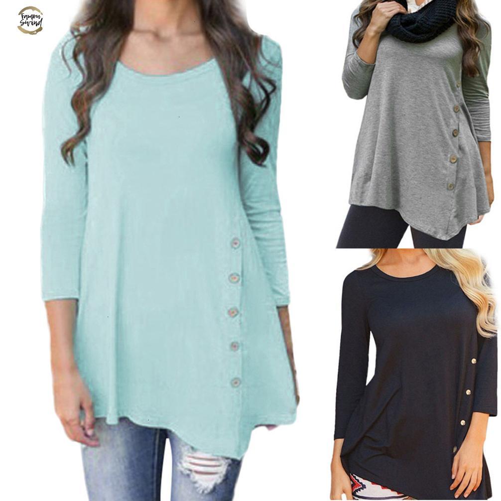 O-cuello de las camisas ocasionales de las señoras botón de la manga larga de las mujeres de Corea del verano tops sólido de la túnica blusa de la gasa Superior Femenina Blusas más el tamaño