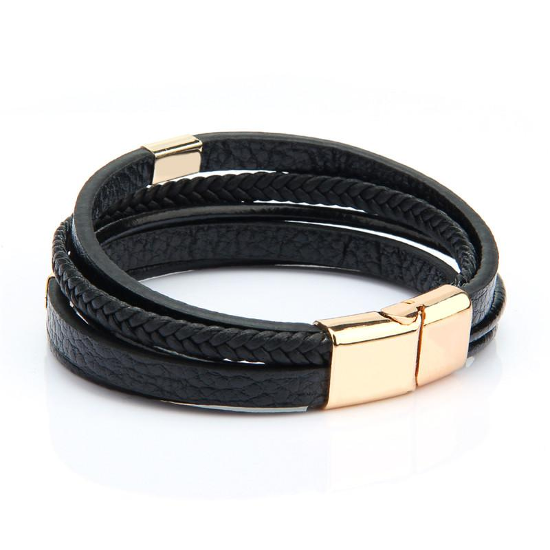 Braccialetti in pelle alla moda Uomo nero multistrato intrecciato corda braccialetti per gioielli maschili femmina bracciali