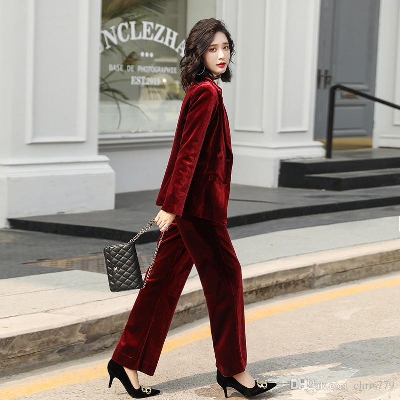 pantolon set iş rahat iş giyim ile 2020 Kadın takım elbise kadife çift göğsü ince takım elbise iki parçalı kadın takım ceket