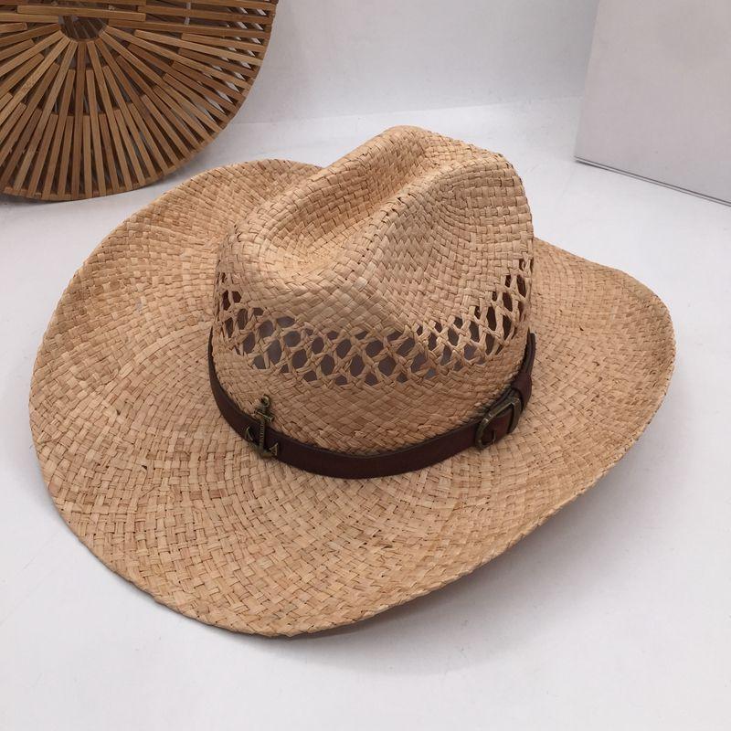 HuKaiLi chapéus de cowboy de palha de couro Mulheres Homens ocidental do chapéu de vaqueiro para o pai Gentleman Lady Sombrero Hombre Jazz tampa chapéus