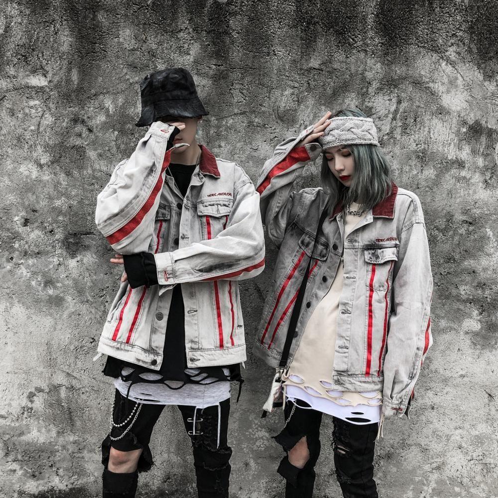 rayas rojas de los hombres calientes de la chaqueta de mezclilla rasgado para hombre apenada dril de algodón Jean chaquetas masculino Hip Hop alta calidad ocasional de Calle