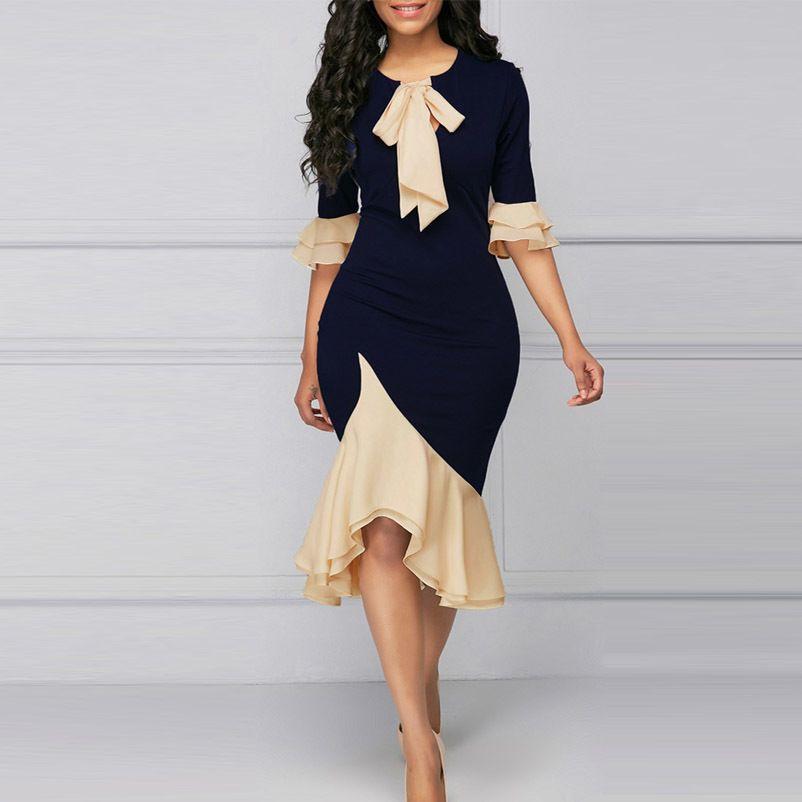 4xl más el tamaño de las mujeres se visten de moda elegante oficina señora vestidos de fiesta primavera verano sexy volantes vestido de costura azul vestidos t4190605
