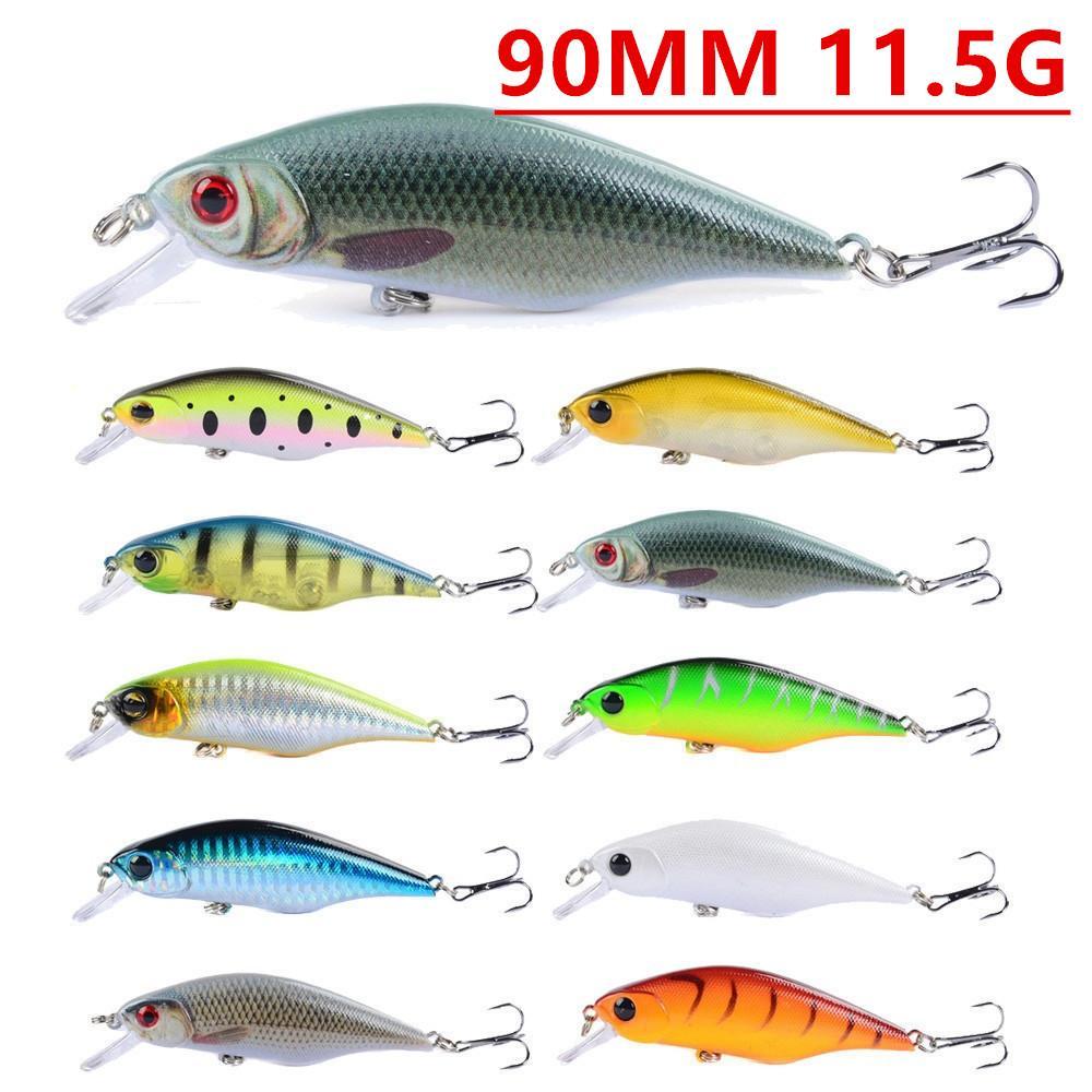 10 90mm color mixto 11,5 g Minnow Pesca Ganchos anzuelos 6 # gancho de plástico cebos duros Señuelos Pesca Caza y Pesca Accesorios