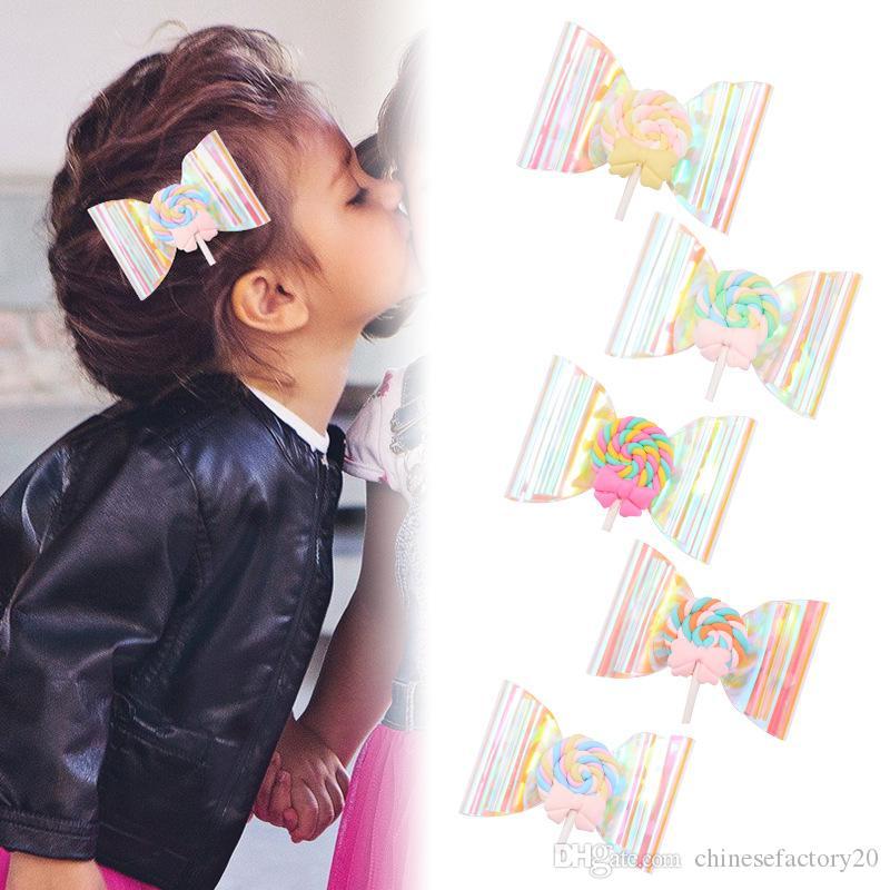 Ins Baby Girl Hair Clip Bow Bow Lecca-lecca Paillettes Trasparente Barrette Hairbow Fornitori per capelli Accessori per capelli 5 colori