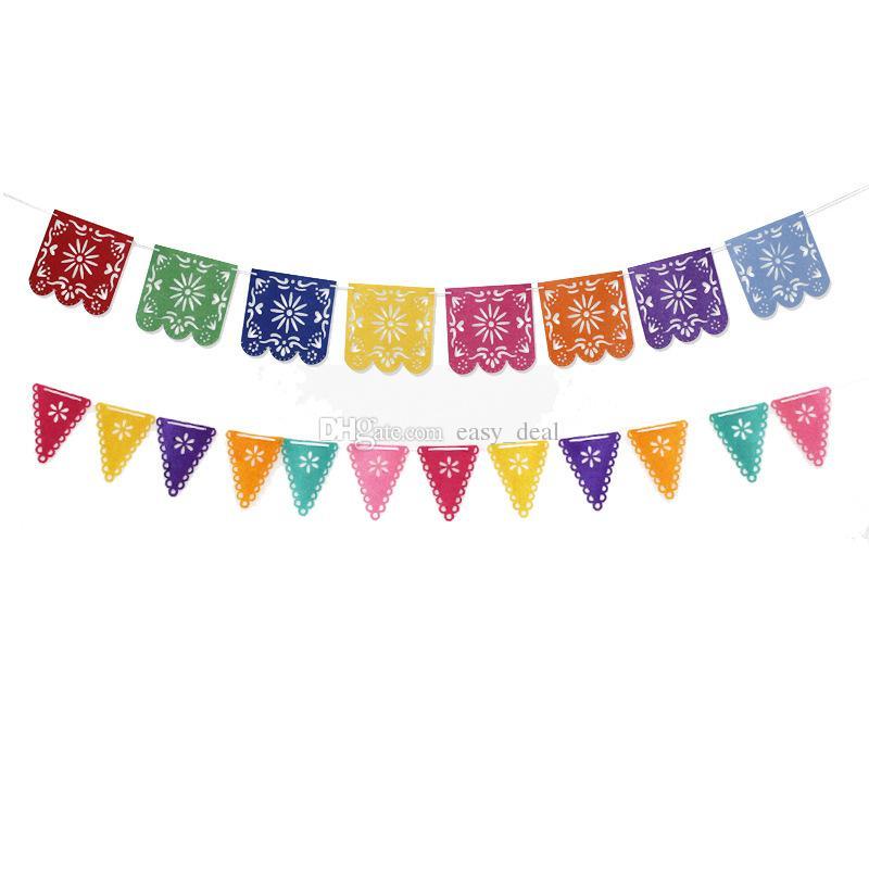 Bandera mexicana Garland Bandera de la boda Decoraciones de la bandera para la fiesta temática Fiesta de cumpleaños de Halloween Envío rápido ZC0139