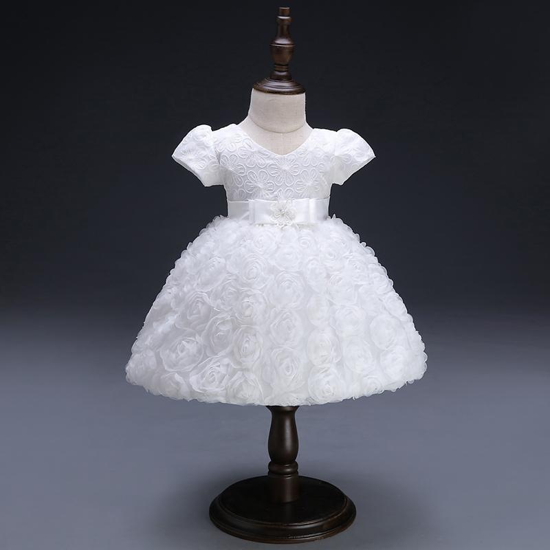 Vestidos de bebé blancos Niña recién nacido 1er año de cumpleaños traje infantil Princesa linda Fiesta Vestido de bautizo Vestido de novia para la niña Y190516