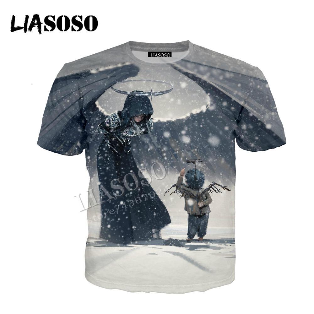 LIASOSO latest 3D print polyester sportswear China CG art ink painting ghost knife angel child man woman zipper hoodie CX660