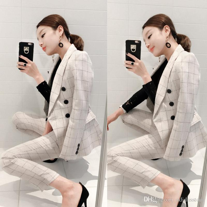High quality Suit Women Autumn Stylish Work Houndstooth Notched Double Breasted Slim Polyester Women's Business Suits