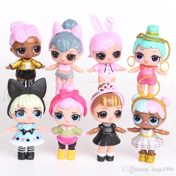 8 adet LOL Bebekler Action Figure Çocuk DIY Top Oyuncaklar Çocuklar Için Doğum Günü Yılı Kız Modeli Dekorasyon