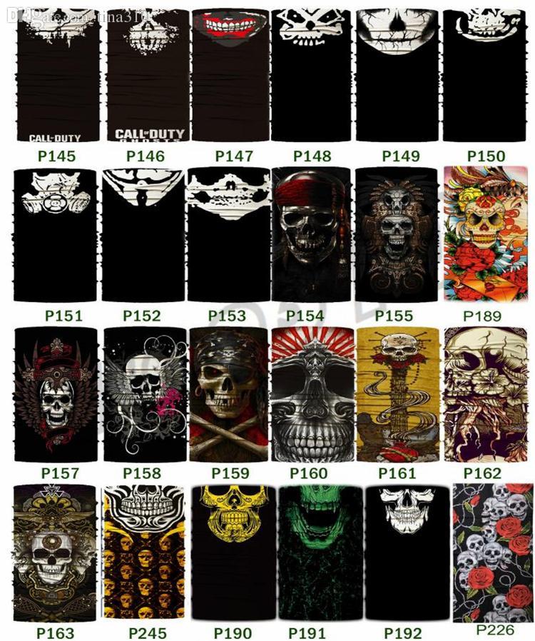 Máscara novo Halloween Máscaras Crânio Headbands Multifuncional sem emenda Lenço Variável Magia cachecol esporte máscara do partido I496