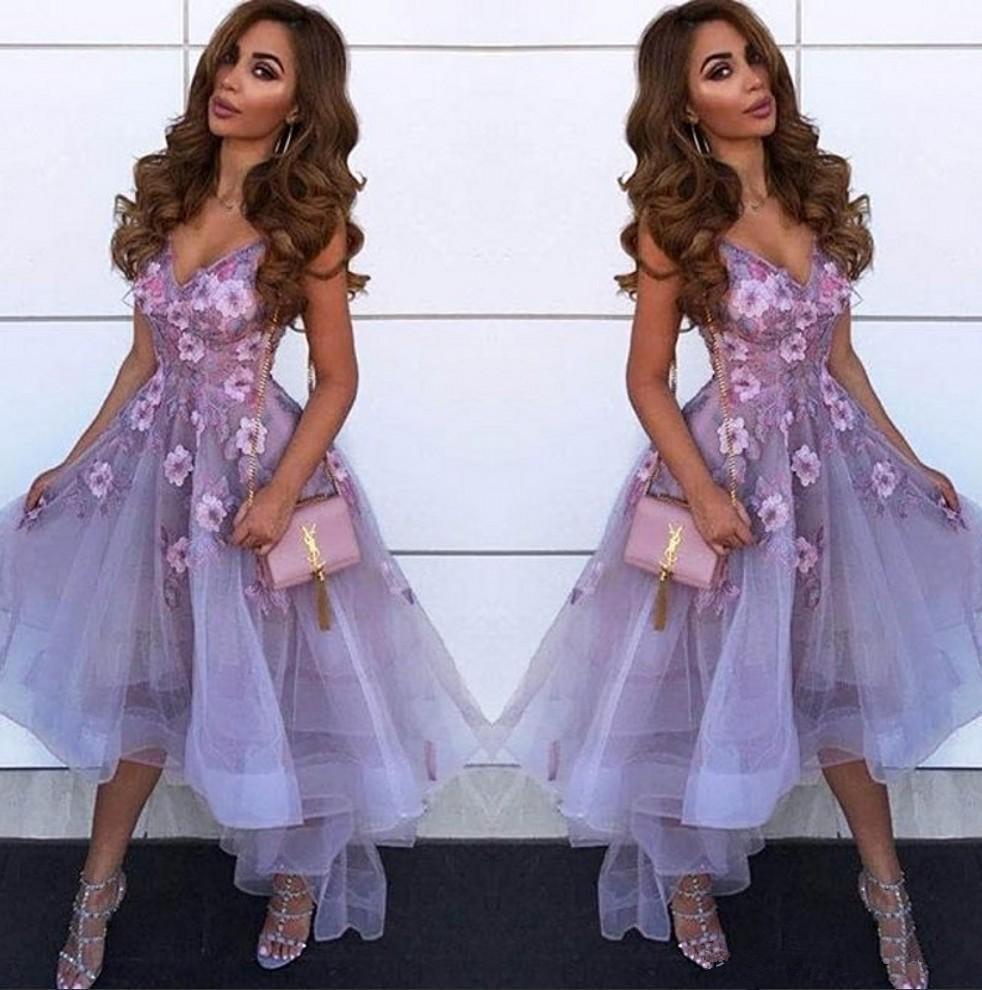 Lavender V Neck Tulle A Line Homecoming Dresses Arabic Lace Applique High Low Princess Short Prom Party Graduation Dresses Z89