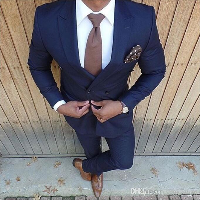 New Fashion Dark Blue Wedding Suits 2 Pieces Mens Suit Slim Fit (Jacket+Pants) Double Breasted Groom Tuxedos Groomsmen Suits Business Suit