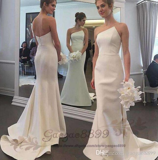 Inbal Dror 2019 simple beach white stain Mermaid Wedding Dresses ruched irregular neck zipper back Trumpet Wedding Gowns cheap custom made