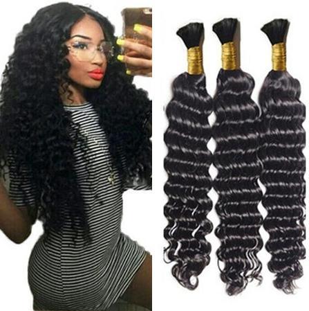 Bulk de cabelo de onda profunda sem trança de crochet de trama com cabelos humanos encaracolados para micro tranças profundamente encaracolado Bulk Braiding Hair
