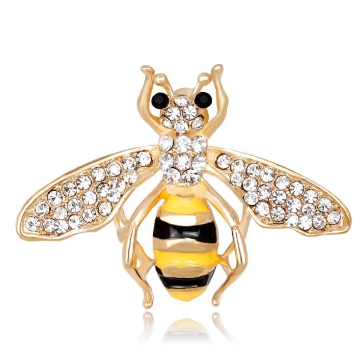Handmade Lovely Enamel Bee Brooches Rhinestone Insect Pin Brooch For Women Man Cloth Jewelry Bride Wedding Jewelry