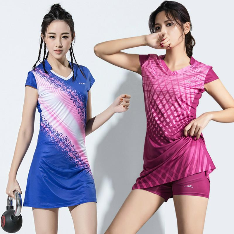 Женщины девушки Спорт платье с брюки безопасности дамы теннис платья с шорты Бадминтон платье одежда тренажерный зал работает спортивная одежда