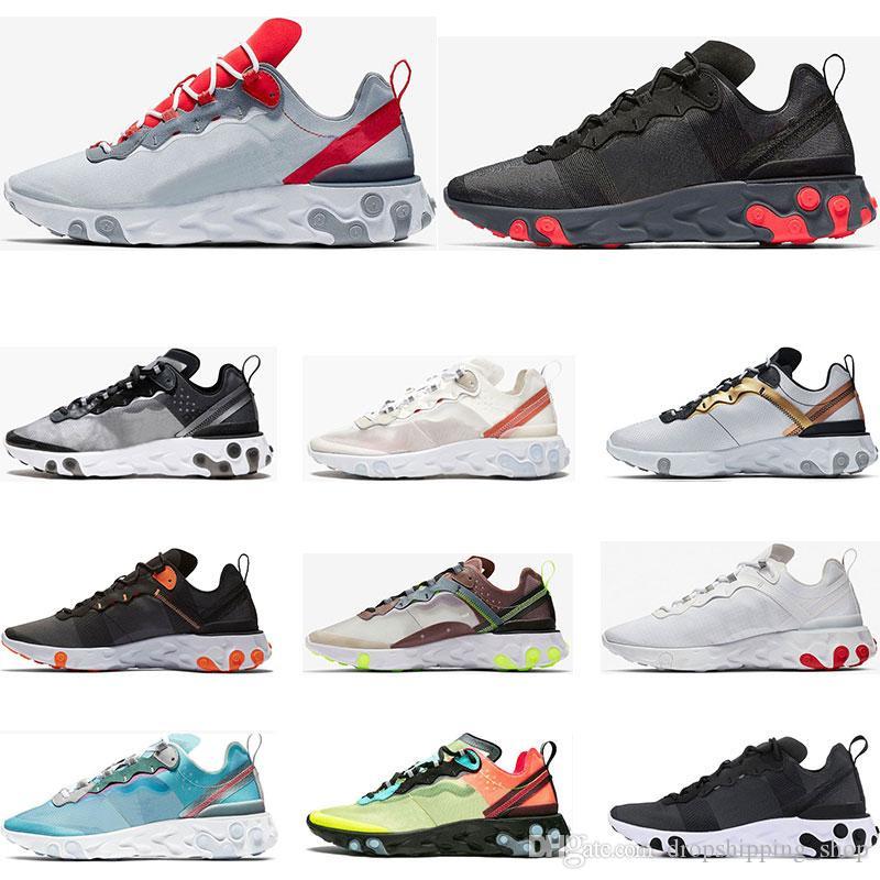 Nouvel élément 55 réagira chaussures de course pour femmes d'hommes Jade solaire triple rouge sneakers blanc royal noir sport rouge formateurs taille 36-45