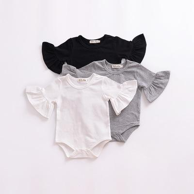 2019 new 0-24M Newborn Baby Girl Flare Sleeve Solid Black White Grey Casual Romper Jumpsuit Outfits Baby Clothes Summer kids Suit