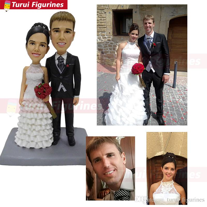 polymer clay doll girl figurine with dog custom bride and groom wedding cake topper funny souvenirs for girl birthday graduation