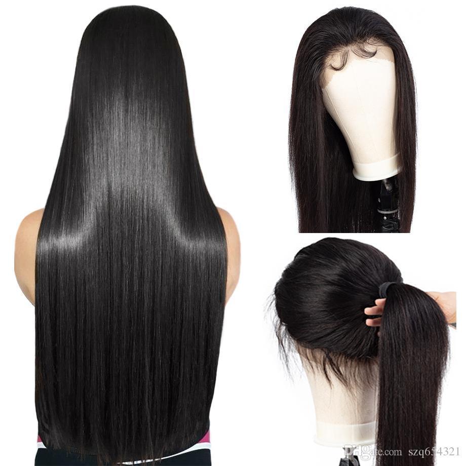Parrucca anteriore del merletto 150% della densità diritta 360 frontal del merletto umani Parrucche mongola Remy Pre pizzico Per Black Women