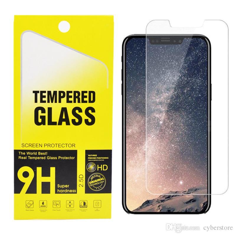 삼성의 경우 패키지와 아이폰 (12) (11) 미니 프로 맥스 XS 최대 XR 8 플러스 강화 유리 화면 보호기 2.5D 9H의 경우