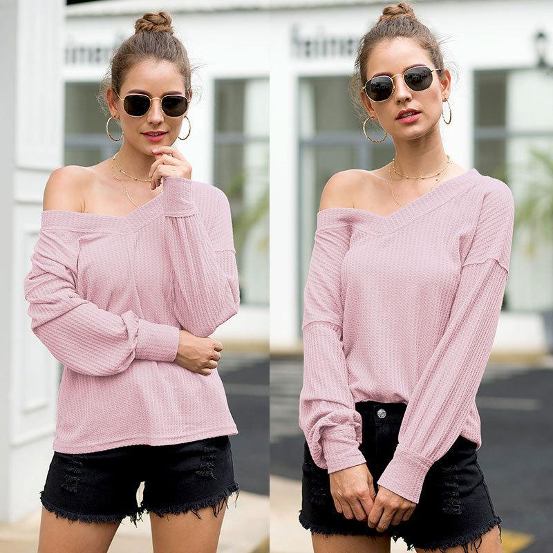 2020 Wholesale Designer T-shirts femme printemps T-shirts pour les femmes avec col en V T-shirt décontracté Marque Vêtements femmes 5 couleurs Optional0.0