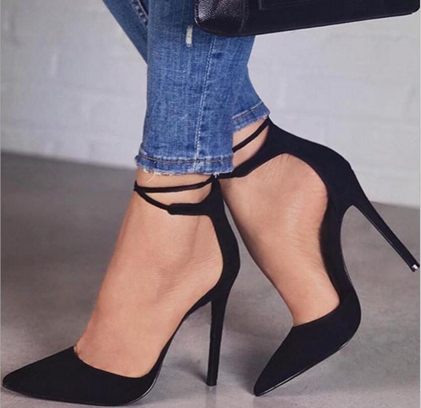 Le nuove donne alti pompe sexy stiletto partito punta a punta caviglia strappy tacchi alti signore nere scarpe da sposa CJ191217
