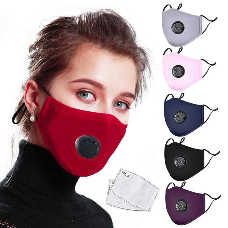 Cycling Face Shield Cotton Breath Valve PM2.5 Mouth Masks Anti-Dust Anti Pollution Face Mask Cloth Activated carbon filter respirator