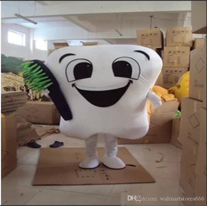 2019 Fabrika sıcak yeni diş maskot kostüm partisi kostümleri fantezi diş bakımı karakter maskot elbise eğlence parkı kıyafeti