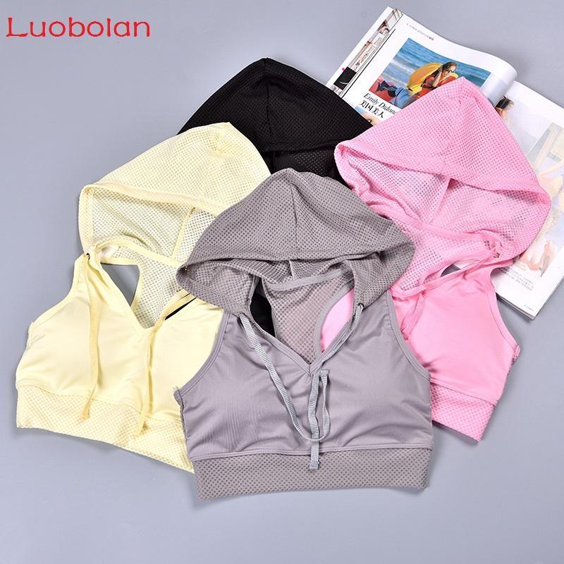 Luobolan Mulheres Yoga Bra Treino Tops de Culturas Mulher Ginásio Esportes Quick Dry Respirável Malha Sem Mangas Colete Hoodies Regatas Com Almofada