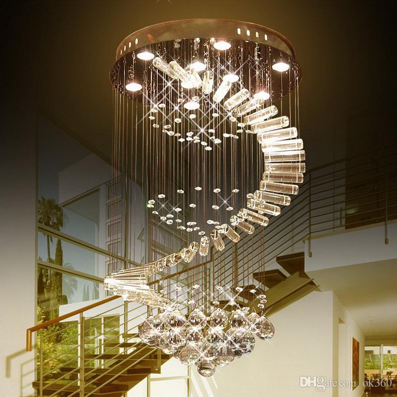 Moderno Led goccia di pioggia lampadario di cristallo pendente dell'acciaio inossidabile Luce GU10 ha condotto la lampadina Lampade incasso Scala apparecchio di illuminazione