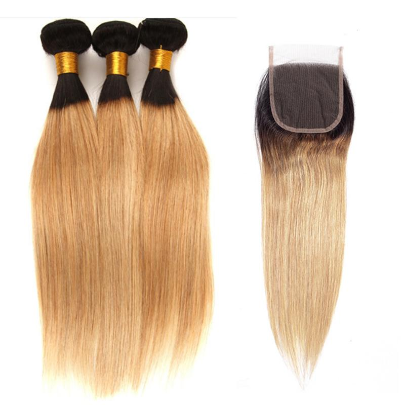 Kapatma Düz T1B 27 Combre Renk% 100 İnsan Saç Uzantıları ile 4X4 Dantel Kapatma Ücretsiz nakliye ile Malezyalı Remy İnsan saç örgüleri