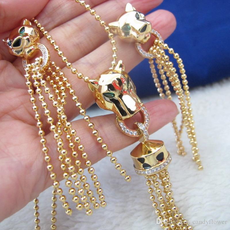 Оптовая дизайнер циркон бриллианты животных LEOPARD кисточкой подвески ожерелья и серьги золотого цвета роскошные праздничные украшения для женщин, наборы для женщин