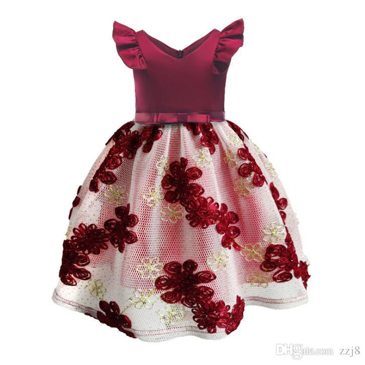 Nakış Tasarımları Çiçekler Çocuklar Elbiseler Sinek Kol Prenses Noel Partisi Giydir Yaz Bebek Kız Giysileri 2-9 Yaşında